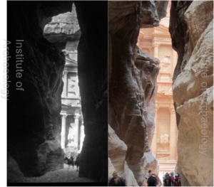 El Siq looking towards El Khazneh ('The Treasury'). Alexander Kennedy's 1923 image is on the left. Superficially, it doesnt' seem that much has changed here in the last 90 years...