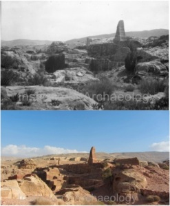 The rock-cut obelisks, which the Nabateans created by excavating at least 3,200 square metres of stone. Comparing Kennedy's photo to mine, it looks like some of the ground around the obelisks has been cleared since 1923.